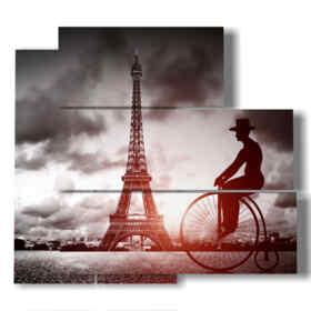 quadro strada di Parigi con uomo in bici