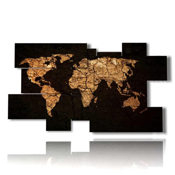 quadro mappamondo oro su sfondo nero