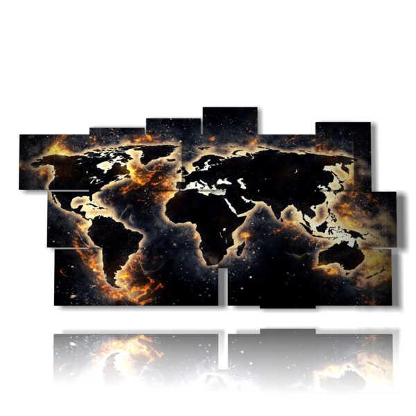 quadro mondo nero in una terra di fuoco