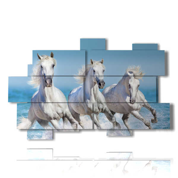 paintings with white horses on the waves