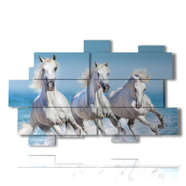 quadri con cavalli bianchi sulle onde del mare