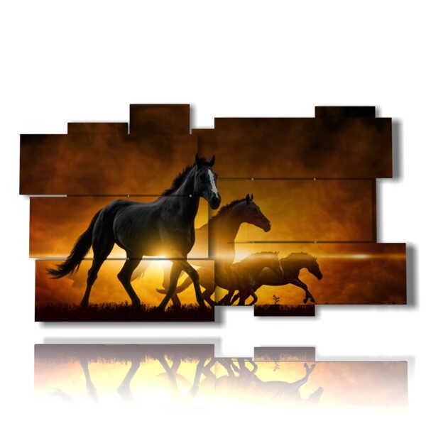 quadri di cavalli moderni baciati dal tramonto