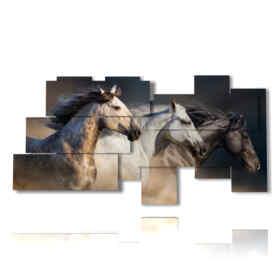 quadro tre cavalli verso l'infinito