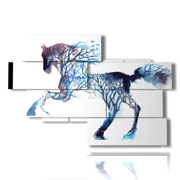 quadri di cavalli al galoppo in un corpo di alberi