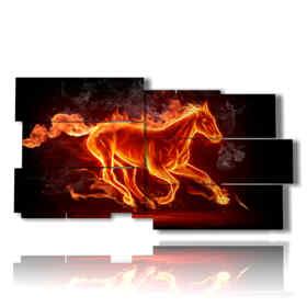 quadro futurista cavallo fatto di fuoco