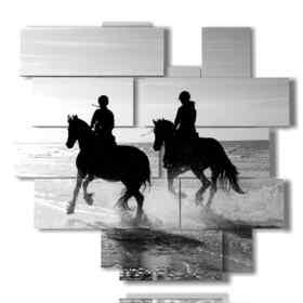 Tableau moderne homme équitation sur le bord de la mer