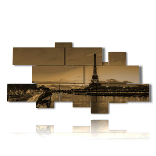 painting with famous photos Paris sandy effect
