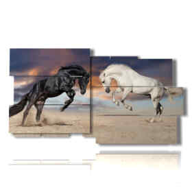 Modern paintings with two grummy horses