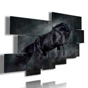 quadro cavallo nero nella sua potenza e maestosità