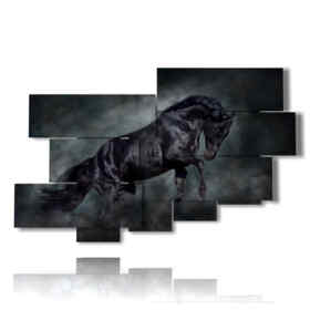 Modern picture black horse in its power and majesty