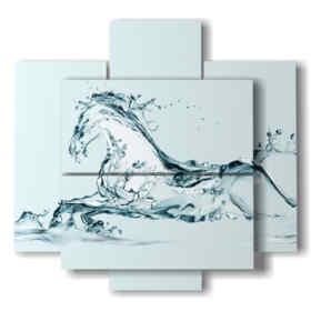 Tableaux modernes avec des chevaux stylisés dans un fantasme fait d'eau