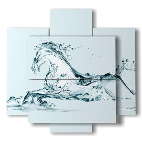 quadri con cavalli stilizzati in una fantasia fatta di acqua
