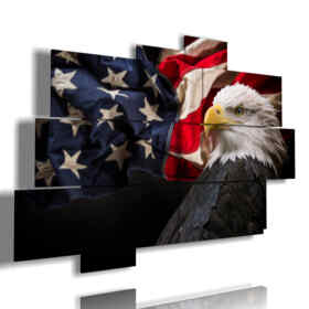 birds of prey painting and American flag