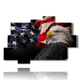 Modern picture birds of prey and American flag