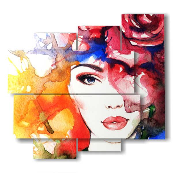 quadri donne con cappello di fiori