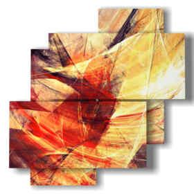 quadro con immagini dipinti astratti giallo e rosso