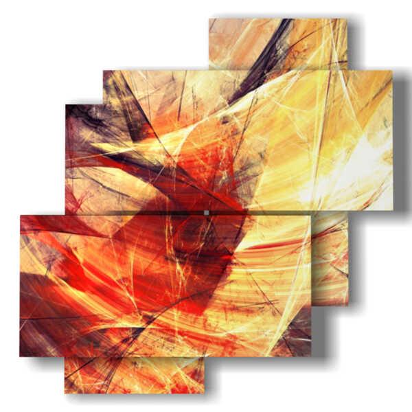 cuadro con cuadros abstractas imágenes amarillas y rojas