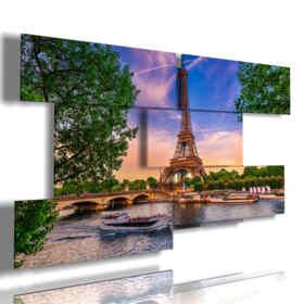 quadro Paris moderno tra gli alberi