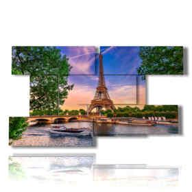 Paris cuadro moderno entre los árboles