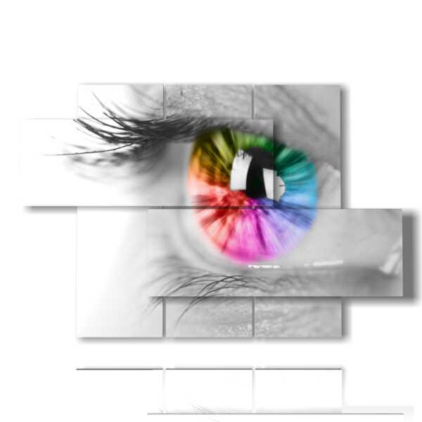 quadri donne bianco e nero occhio arcobaleno