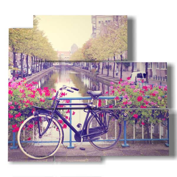 foto cuadro centro de Amsterdam y bicicletas