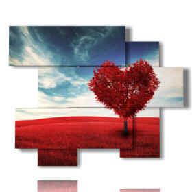 quadro cuore rosso nell'albero