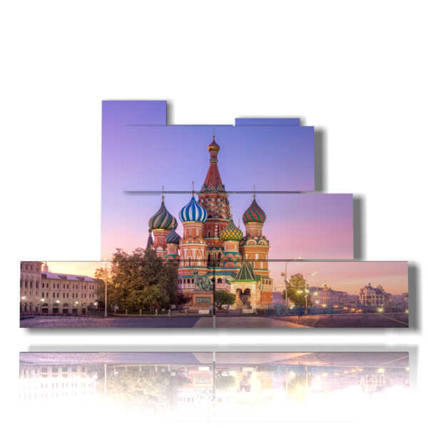 Modern picture of St. Basil's Cathedral in the picture of Moscow Russia