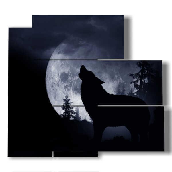 quadri raffiguranti animali lupo ululante alla luna