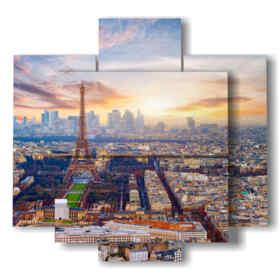 quadro paesaggio parigi vista dall'alto di giorno