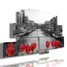 quadro con foto Amsterdam bianco e nero