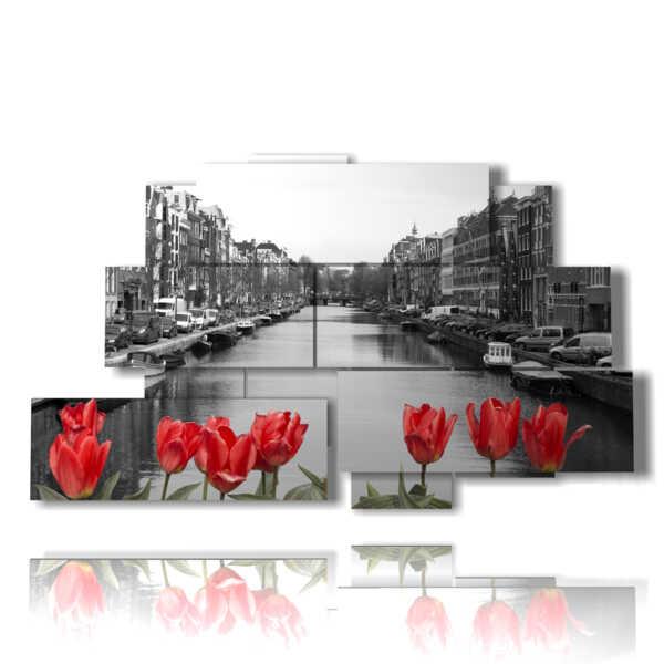 pintar con fotos en blanco y negro de Amsterdam