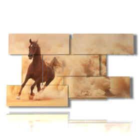 quadri di cavalli arabi davanti ad una nube di sabbia