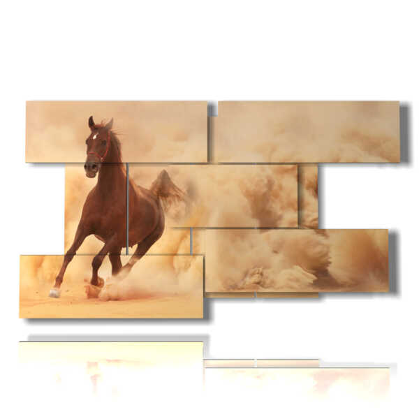 paintings of Arabian horses in front of a cloud of sand