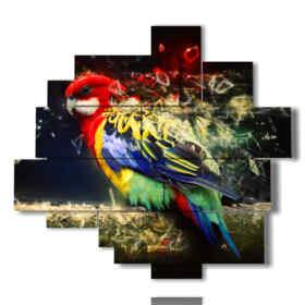 tableaux sur toile perroquets de plumes magiques