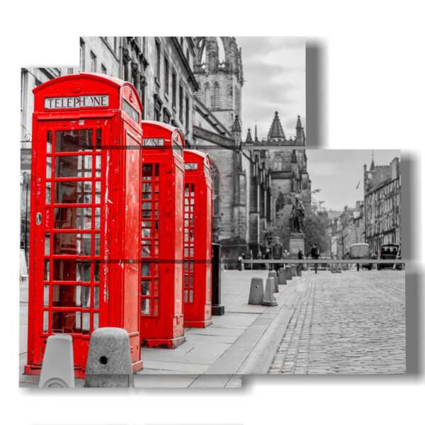 cuadro con fotos cabina de teléfono de Londres