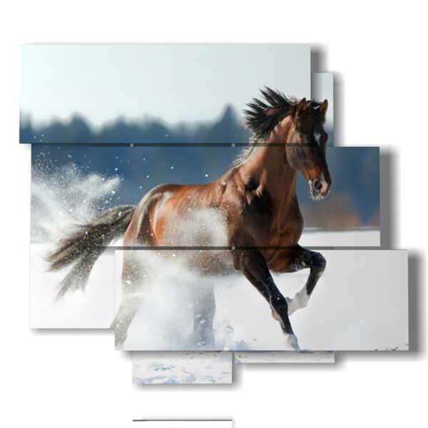 cuadros caballos corriendo en la nieve