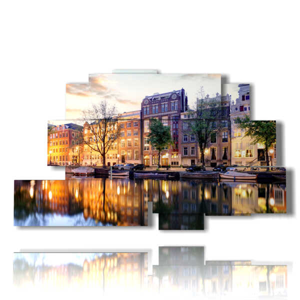 picture with photos of Amsterdam city in the evening