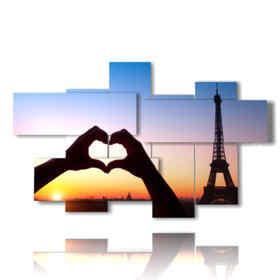 quadro con foto parigi romantica a cuore