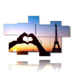 picture with photos Paris romantic at heart