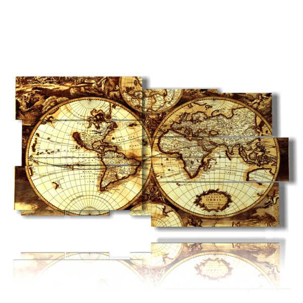 quadri mappamondo con cartina geografica