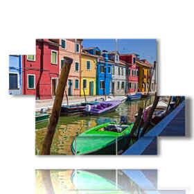 Tableaux modernes dans la ville de Venise de Burano