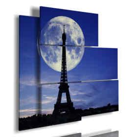 cuadro con fotos de la torre Eiffel besado por la luna