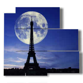 picture with photos Paris Eiffel Tower kissed by the moon