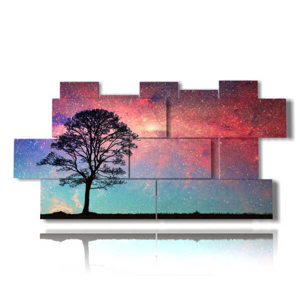 quadri alberi astratti nube rossa