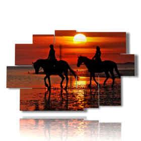 Tableau moderne chevaux de toile dans une promenade romantique au coucher du soleil