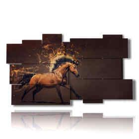 fantástico cuadro pintado con un caballo de la crin de fuego