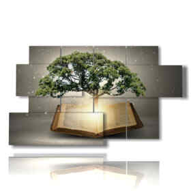quadri di alberi astratti in un libro di favole