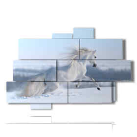Modern picture with white horse painting in the snow