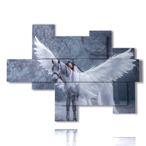 quadri con cavalli famosi nelle ali di un angelo bianco