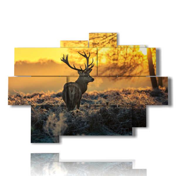 tableaux animaux de montagne dans la magie du coucher du soleil